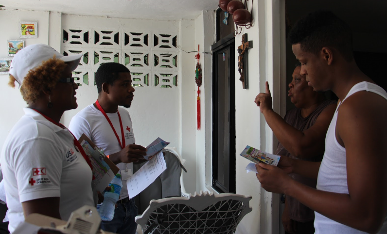 CAZ technicians in Dominican Republic doing a household visit on the third day of the training.