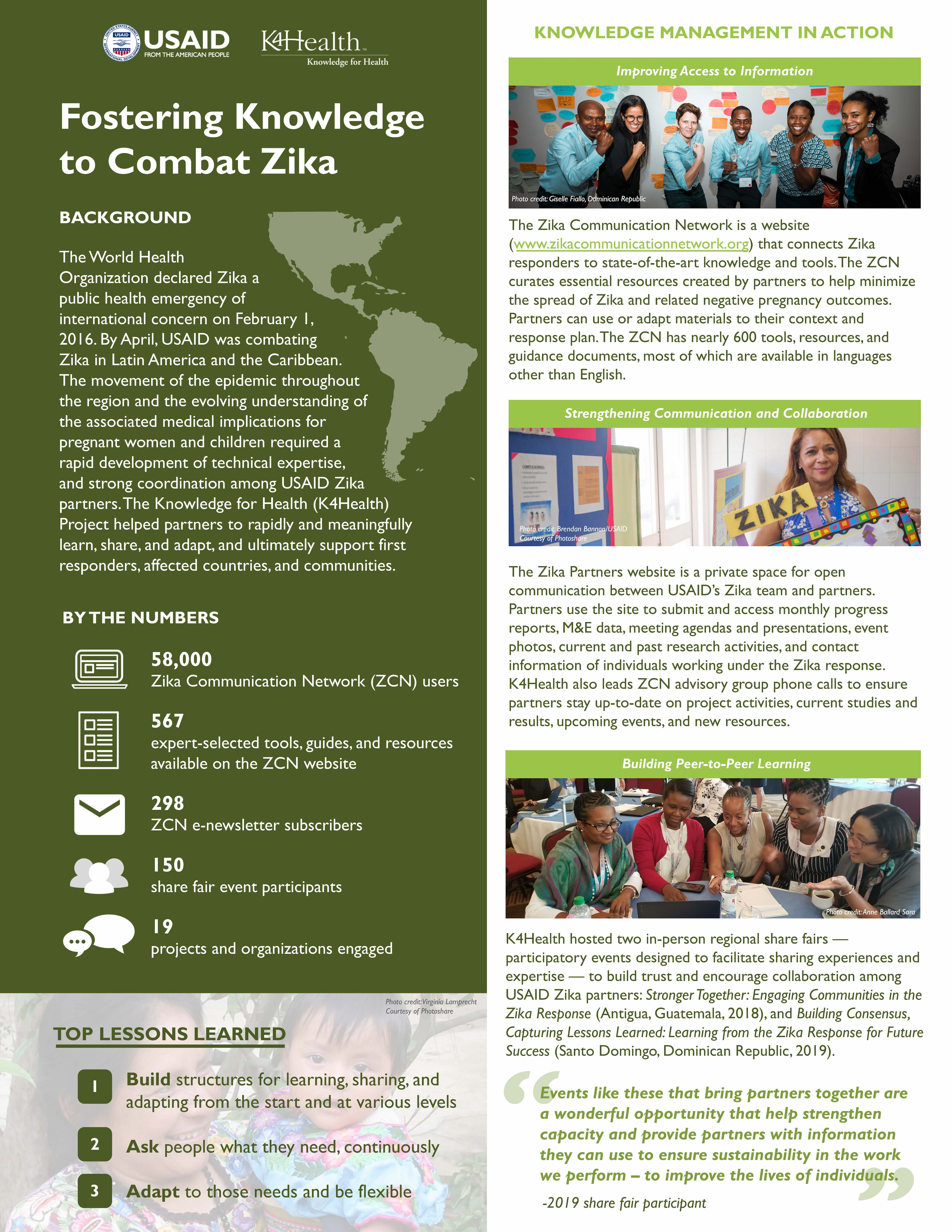 Fostering Knowledge to Combat Zika