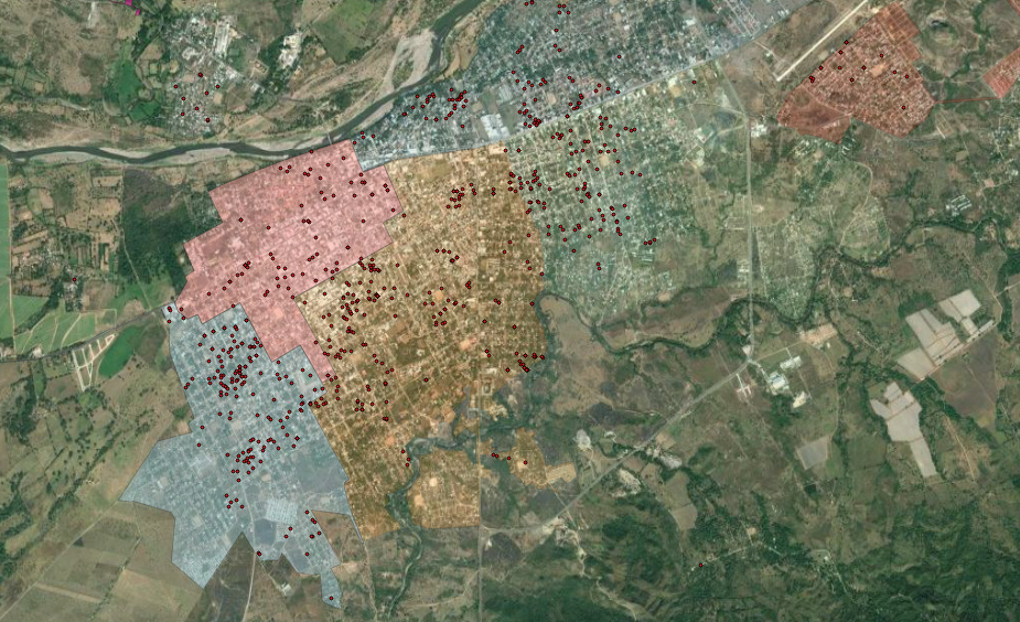 The QGIS map above shows infestation cases of Aedes aegypti in Choluteca in March 2018.