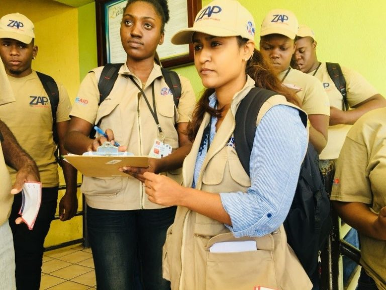 ZAP Vector Control and Environmental Compliance Manager Kerri-Ann Guyah readies her team for daily operations.