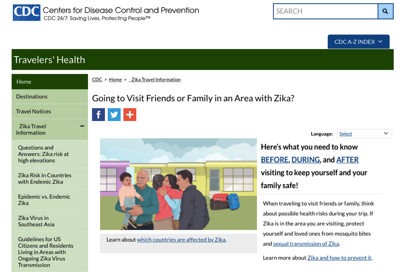 Going to Visit Friends or Family in an Area with Zika