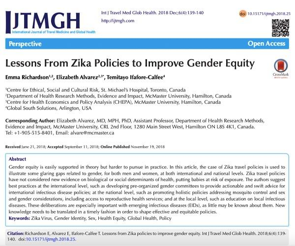 Lessons From Zika Policies to Improve Gender Equity