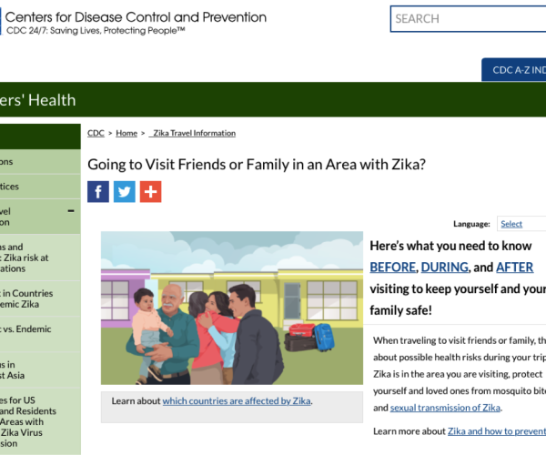 Screenshot of CDC travel webpage in English.