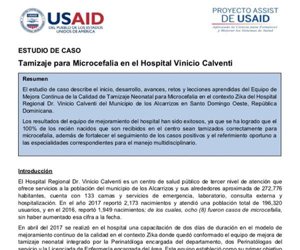 Screening for Microcephaly in Vinicio Calventi Hospital