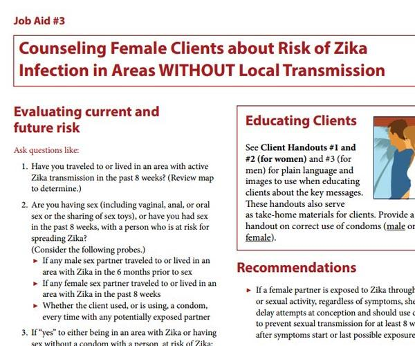 Counseling Female Clients about Risk of Zika Infection in Areas WITHOUT Local Transmission
