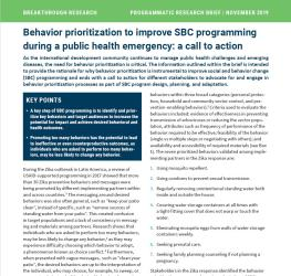 Behavior prioritization to improve SBC programming during a public health emergency